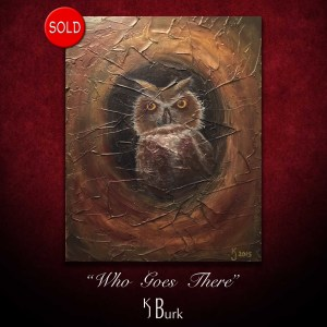 KJsArtStudio.com | Who Goes There ~ Original Heavily Textures Wildlife Painting by KJ Burk