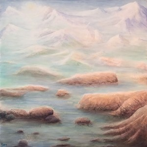 KJsArtStudio.com | Spring Thaw ~ Original Solfeggio 963Hz Frequency Infused Painting by KJ Burk