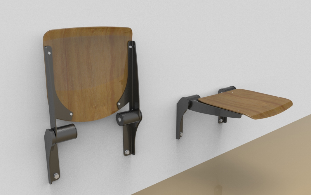 "Klappsitz Wand Fold Down Seat ""woodie""; Wall-mounted"
