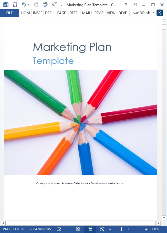 Marketing Plan Template \u2013 40 page MS Word template and 10 Excel