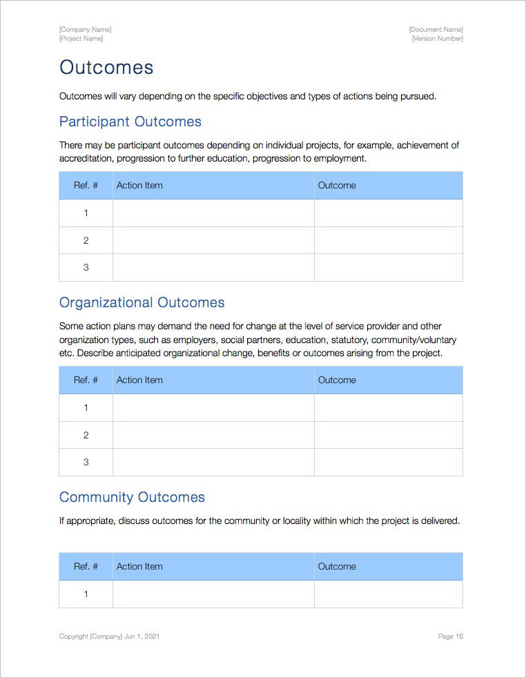 Action Plan Template (Apple iWork Pages) Templates, Forms