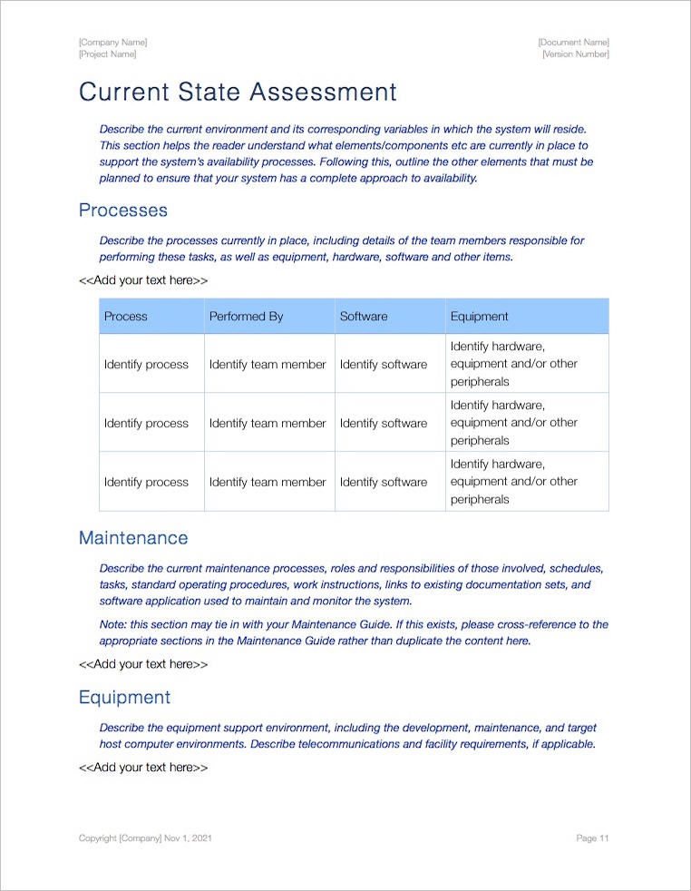 Availability Plan Template (Apple iWork Pages) - software evaluation template