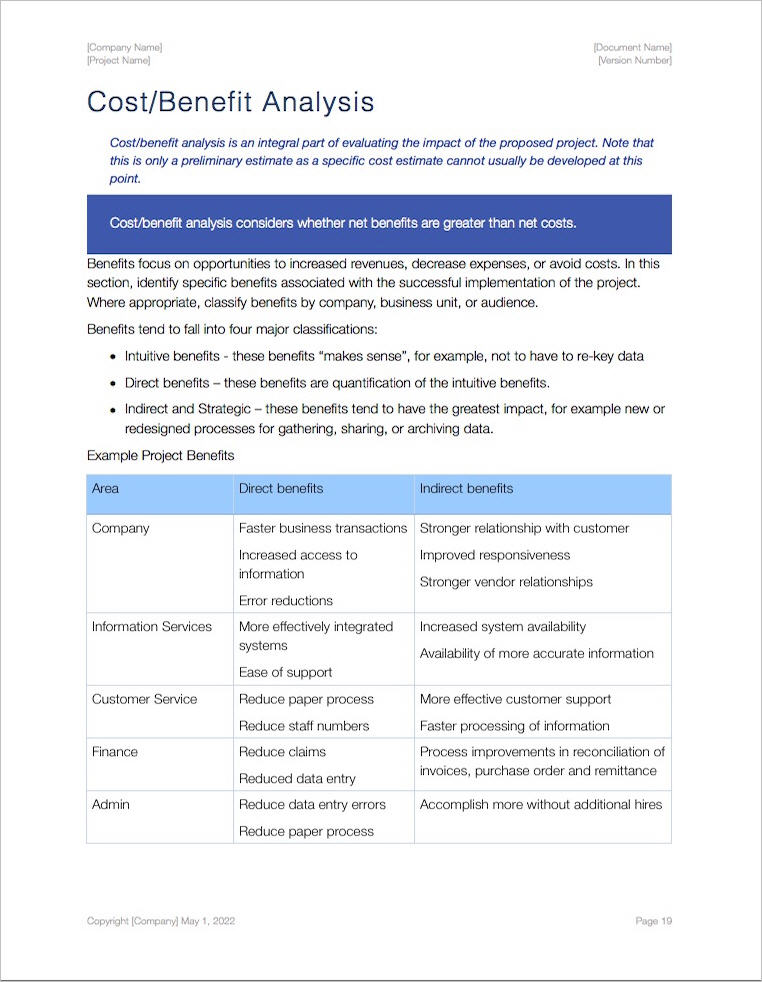 Business Case Template \u2013 Apple iWork Pages/Numbers