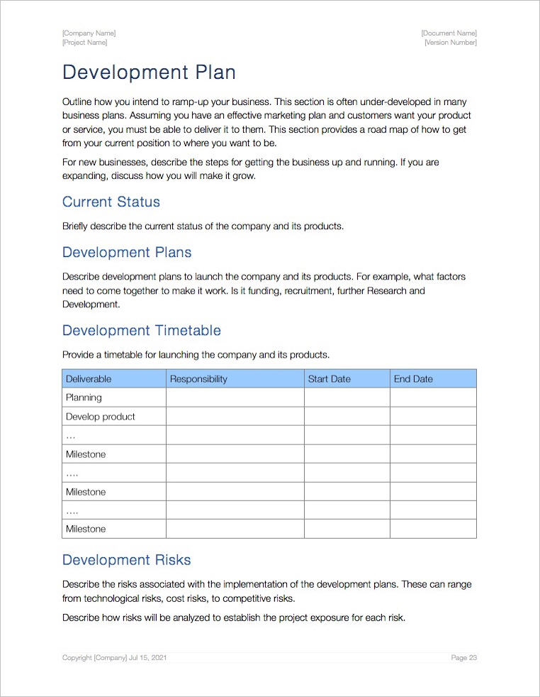 Business Plan Template (Apple iWork Pages and Numbers) - business plan templates