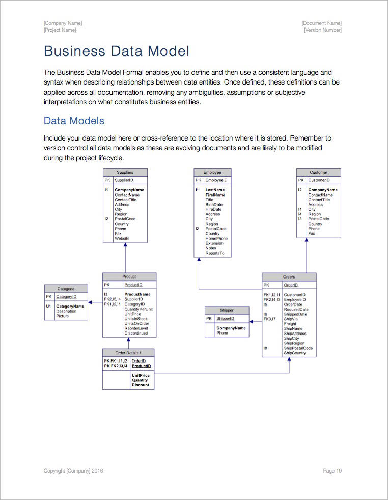 Business Requirements Template (Apple iWork Pages/Numbers) - model template