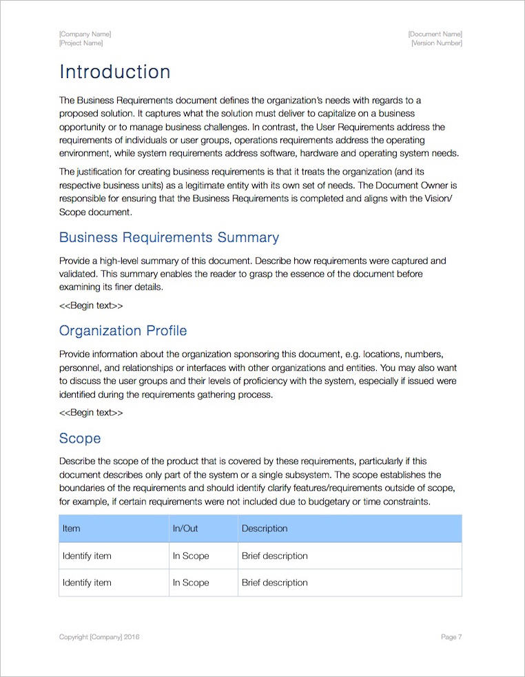 Business Requirements Template (Apple iWork Pages/Numbers - business requirements document template