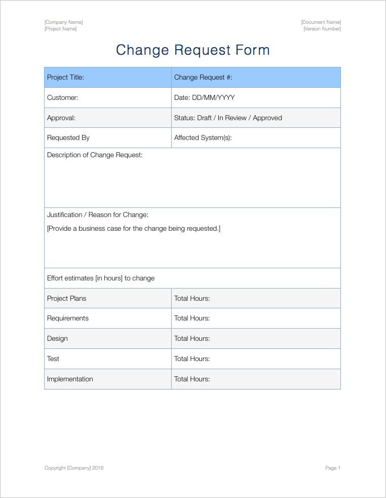 Change Management Plan Template (Apple iWork)