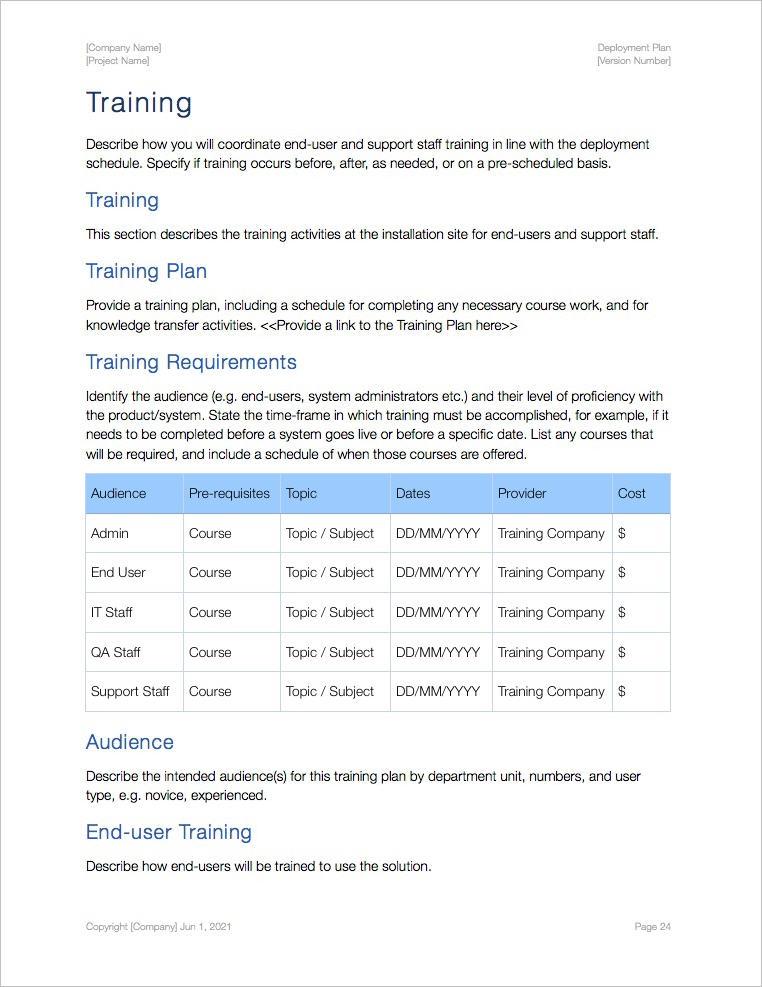 Deployment Plan Template (Apple iWork) Klariti Template Shop - end user documentation template