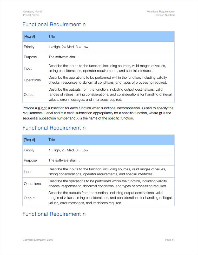Functional Requirements Template (Apple iWork Pages) Templates