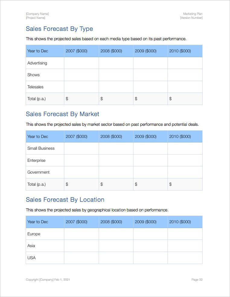 Marketing Plan Template (Apple iWork Pages and Numbers) - advertising plan template