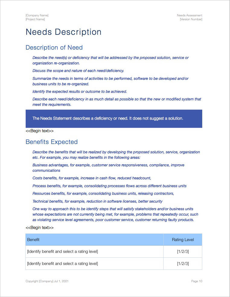 Needs Assessment Template (Apple iWork Pages) - business needs assessment template