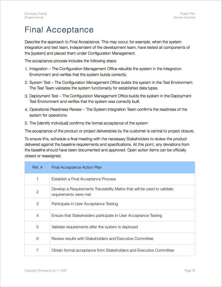 Project Plan Template (Apple iWork Pages/Numbers) - project plan template