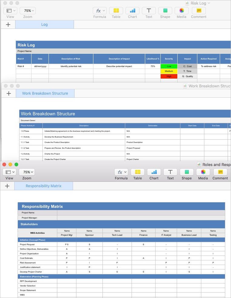 Project Plan Template (Apple iWork Pages/Numbers) Templates, Forms
