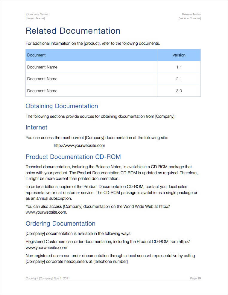 Release Notes Template (Apple iWork Pages/Numbers) Templates