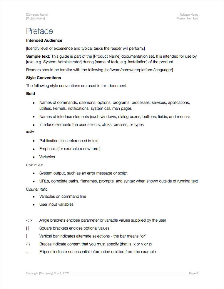 Release Notes Template (Apple iWork Pages/Numbers)