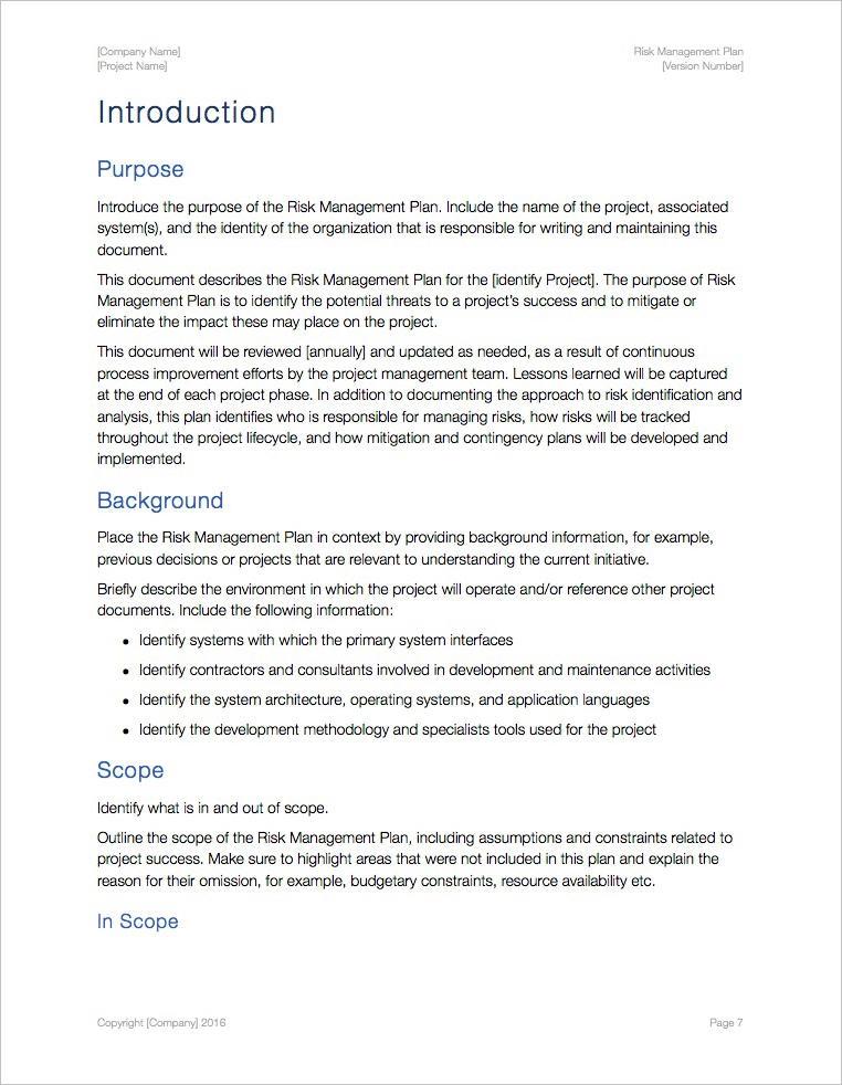 Risk Management Plan Template (Apple iWork Pages/Numbers spreadsheets) - risk management plan template