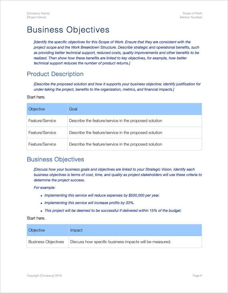 Scope Of Work Template 4 Statement Of Work Straighterline - scope of work template