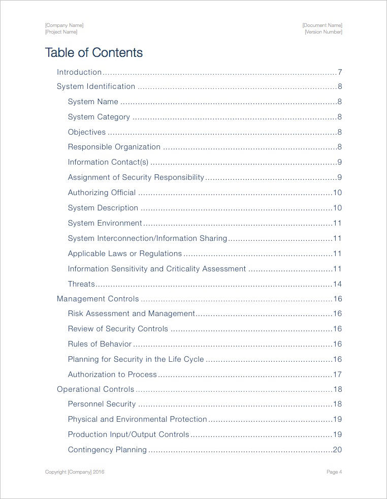 Security Plan Template (Apple iWork Pages/Numbers) Templates - security plan template