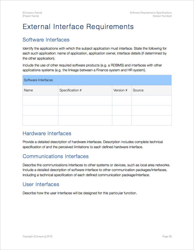 Software Requirements Specification Template (Apple iWork Pages/Numbers) - software specification template