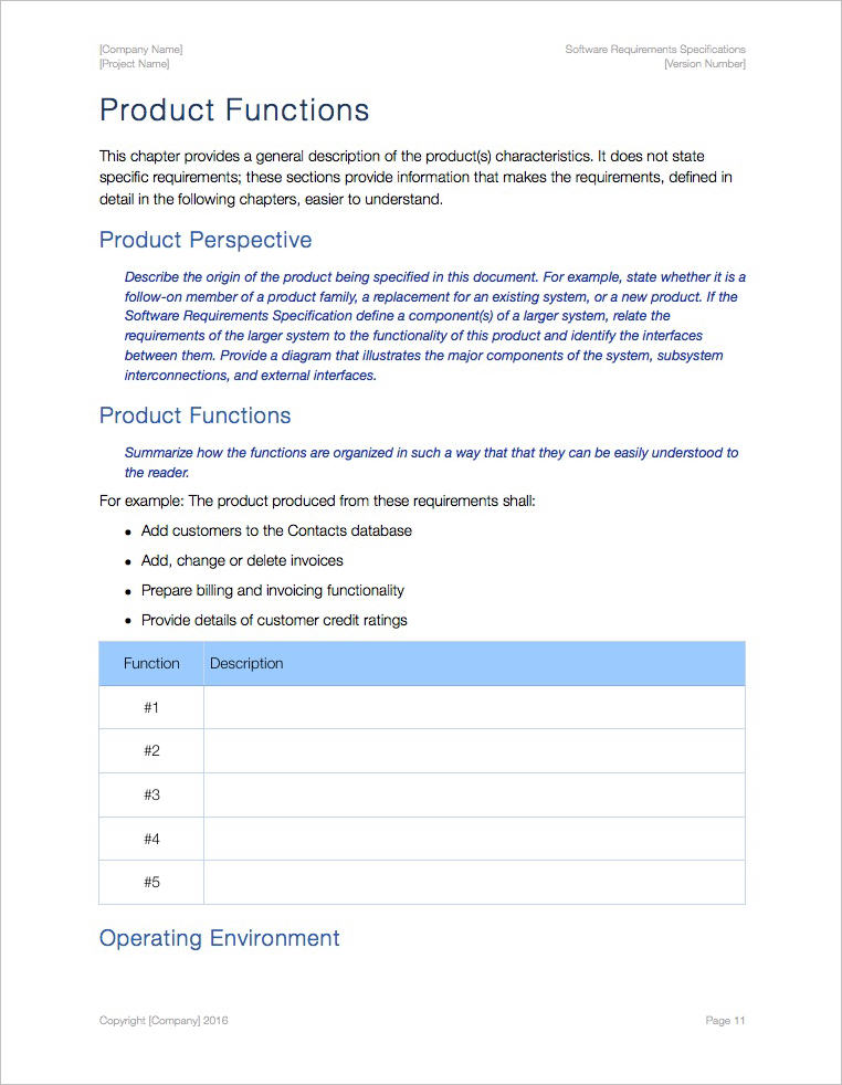 Software Requirements Specification Template (Apple iWork Pages