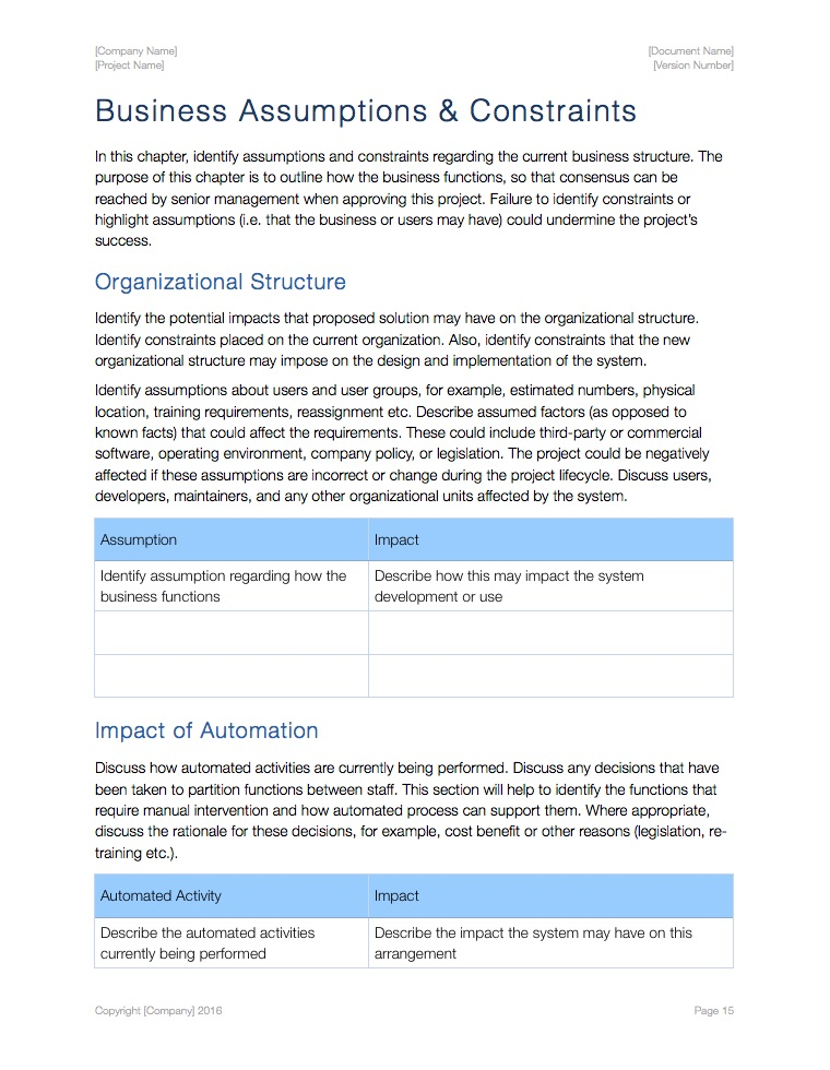 System Boundary Document Template (Apple iWork Pages) - business requirements document template