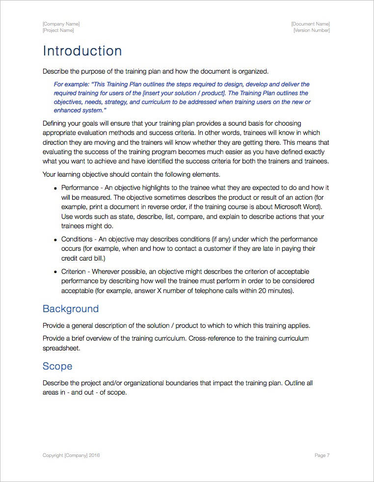 Training Plan Template (Apple iWork Pages and Numbers) - training outline template