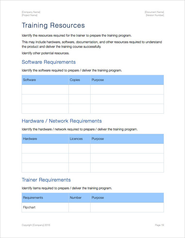 Training Plan Templates (Apple iWork Pages and Numbers) Templates