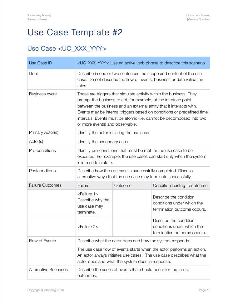 Use Case Template (Apple iWork Pages and Numbers) - use case template