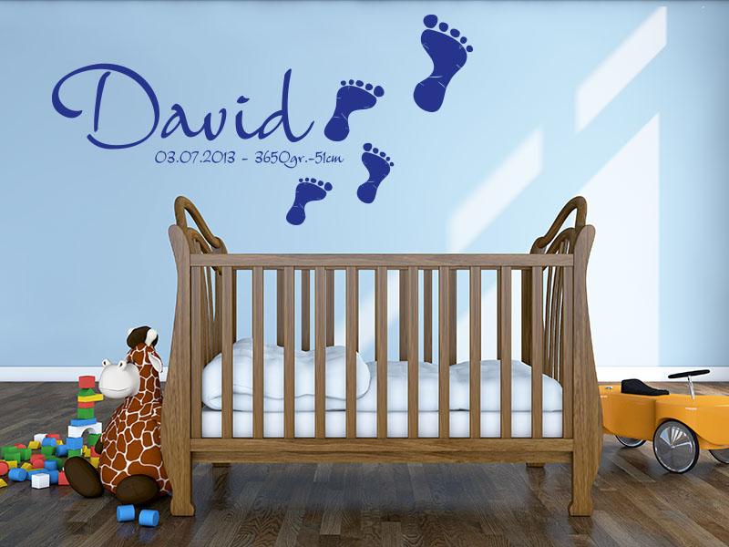 Wunschname mit Fußabdruck Wandtattoos Baby - Wandtattoo