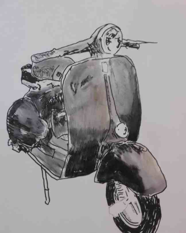 Vespa, handgezeichnete illustration