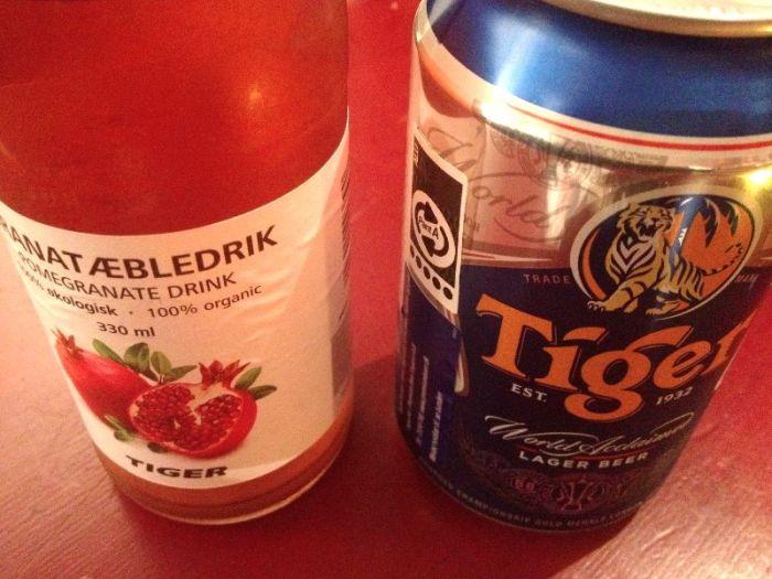 Uiteraard drink je een Thais tigerbiertje, of een fruitsapje uit eigen tuin.