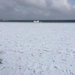 De zee is meters ver bevroren. We zagen iemand er zelfs op lopen.