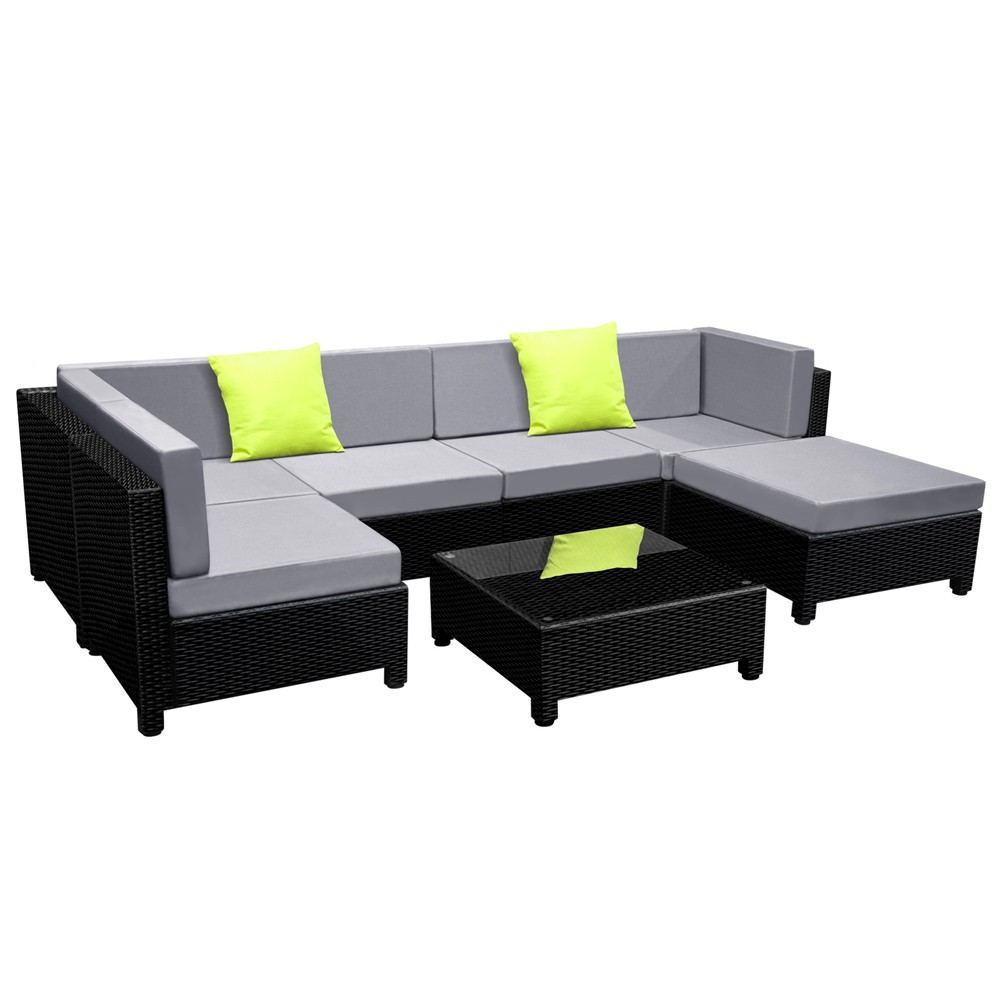 Garden Furniture Corner Sofa Ebay 7 Piece Outdoor Wicker Rattan Sofa Lounge Set Black Lounge