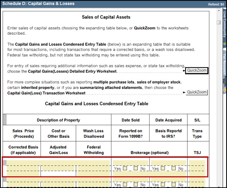 Schedule D Capital Gains and Losses Smart Worksheet - Sales of C