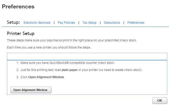 Align preprinted paychecks (or paycheques) for QuickBooks Online