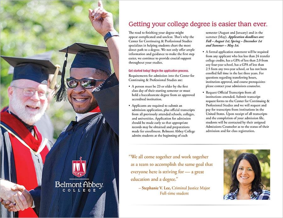 Belmont Abbey College Adult Degree Program Brochure - KM Design