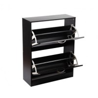2 Compartments Wood Shoe Storage Cabinet Black