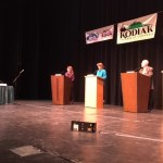 At podiums, left to right, Margaret Stock, Lisa Murkowski, Ray Metcalfe, and Breck Craig. Kayla Desroches/KMXT