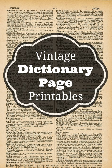 Vintage Dictionary Page Printables Knick of Time