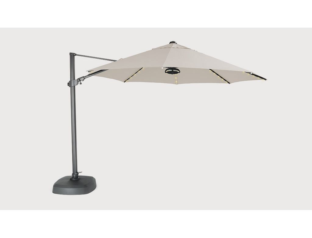 Parasol Taupe Parasol 3 5m Free Arm Taupe With Led Lighting Speaker