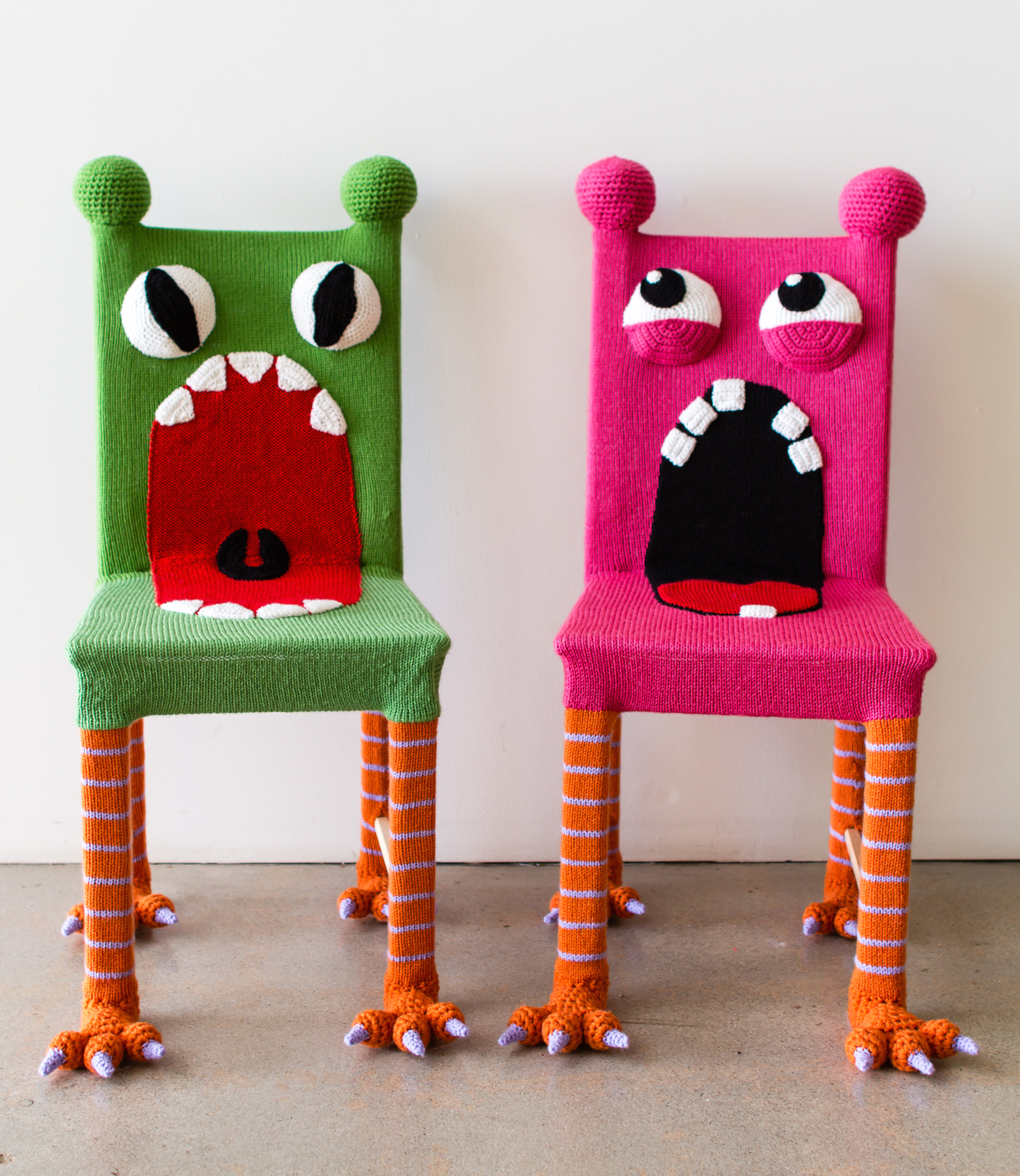 Knitted Furniture Yarn Bombed Monster Chairs Knits For Life