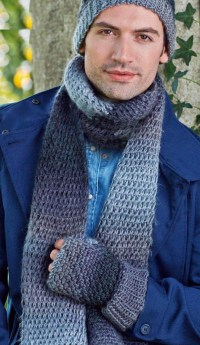 Mens hat scarf and mitts set