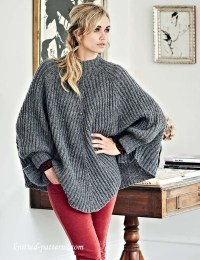 Poncho with sleeves knitting pattern