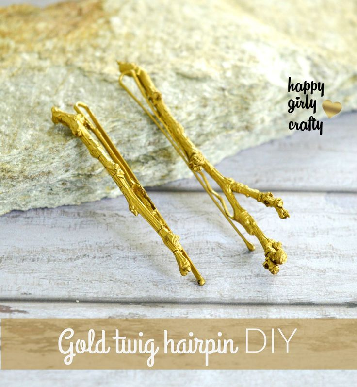 Pin Ups and Link Love: DIY Gold Twig Hair Clips   knittedbliss.com