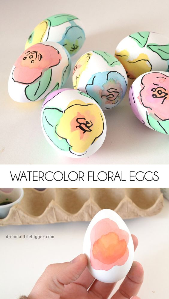 Pin Ups and Link Love: Watercolor Floral Eggs| knittedbliss.com