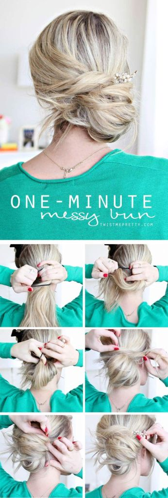 Pin Ups and Link Love: One Minute Messy Bun | knittedbliss.com