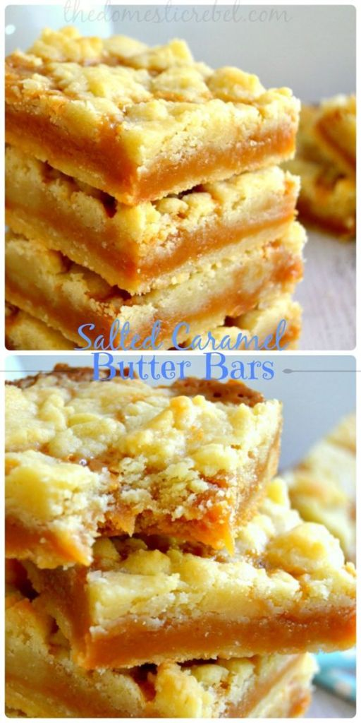 Pin Ups and Link Love: SAlted Caramel Butter Bars| knittedbliss.com