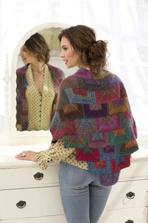 mitered shawl lion brand