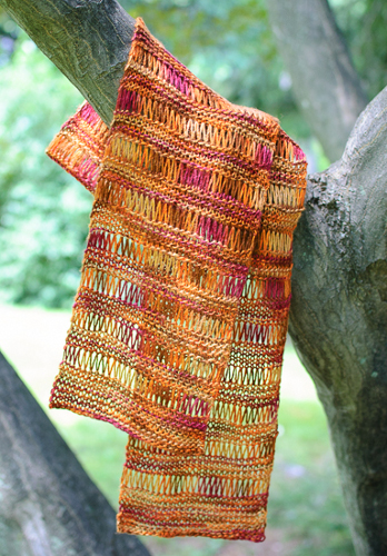 knit this lovely silk scarf with simple elongated stitches