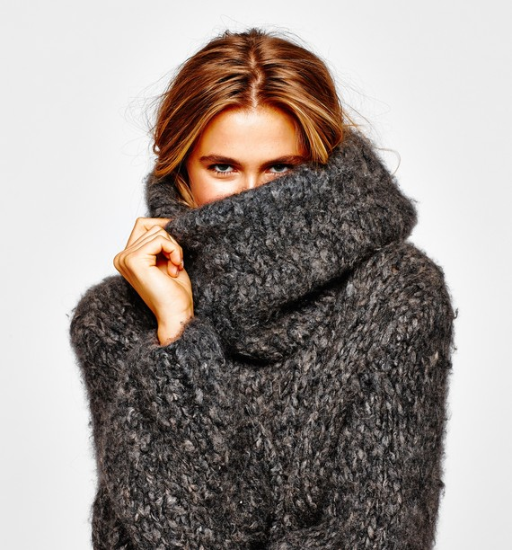 Giant sweaters are in fashion for fall.